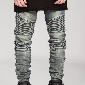 Slim scratched folded denim motorcycle trousers