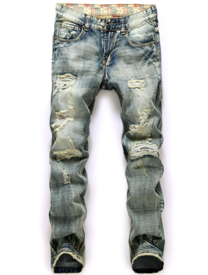 Middle waist printed worn straight men jeans