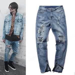 Knee hole trousers zipper straight men jeans