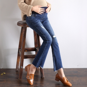 High waist micro-horn stretch cotton pregnant women jeans