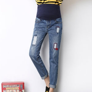 Cotton worn high waist adjustable pregnant denim pants