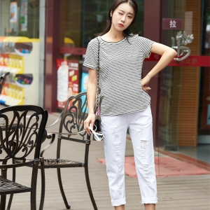 White high waist loose thin section nine points pregnant jeans