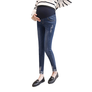 Rabbit embroidered hole stretch cowboy maternity leggings