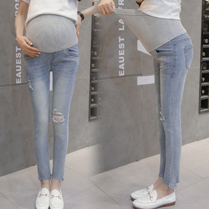 Wholesale high waist hole stretch pregnant jeans