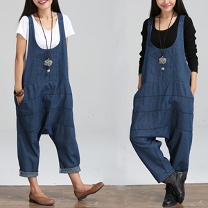 Wholesale stretch loose denim strap maternity pants