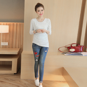Letter labeling high waist maternity jeans