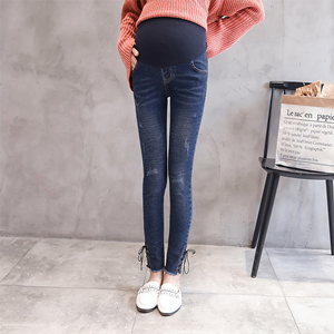 Cheap pants feet wear rope elastic hole denim maternity pants