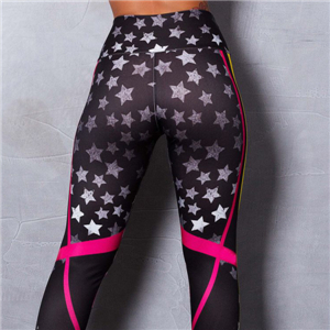 Geometric five-pointed star print yoga hip high waist pants