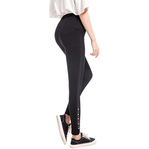 Black foot bead slim print cropped trousers