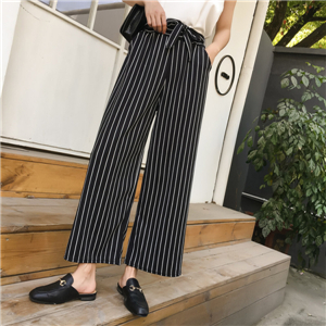Wholesale high waist loose striped plaid cotton wide leg pants