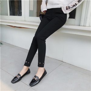 Wholesale black high waist pants round hole pencil pants