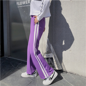 High waist loose white parallel bars split pants