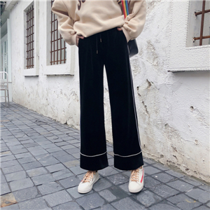 Wholesale high waist micro-la pure color elastic waist gold velvet trousers