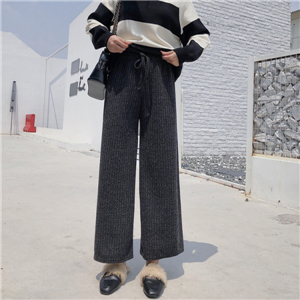 Wholesale solid color knit loose wide leg pants