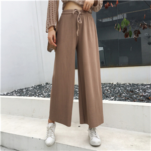 Wholesale high waist loose pleated cotton wide leg pants