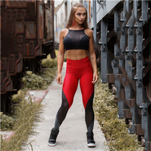 Wholesale red gray mesh stitching stretch yoga leggings