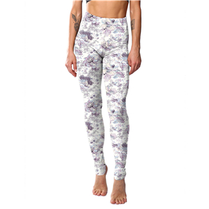 Chinese cheap white chrysanthemum printed yoga leggings