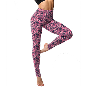 Chinese cheap peach heart striped print yoga leggings