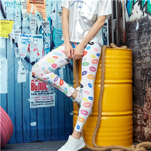 Wholesale leopard print lips yoga leggings