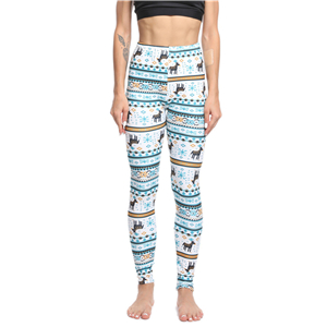 Chinese cheap Christmas blue snowflake fawn print yoga leggings