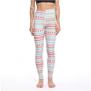 Wholesale Christmas powder blue snowflake print yoga leggings