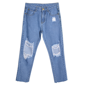Frayed high-rise jeans cheap from China