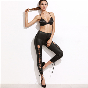 Wholesale low-rise lace-up cropped pants