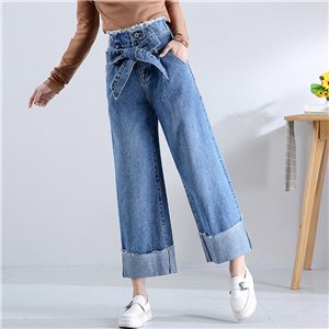 China wholesale high waist bud wide leg jeans