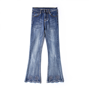 Wholesale high-rise stretch-embroidered jeans