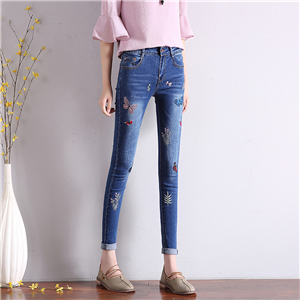 Wholesale stretch skinny embroidered feet jeans