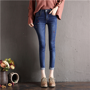 China cheap embroidered stretch cotton jeans