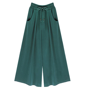 China wholesale cotton cropped wide leg pants