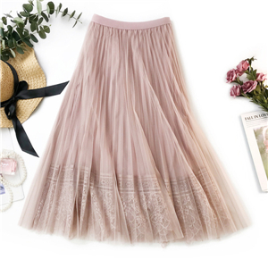 Wholesale lace stitching gold velvet skirt