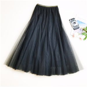 Wholesale solid color high waist stitching lace skirt