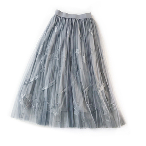 Wholesale feather embroidery beaded high waist A word mesh skirt
