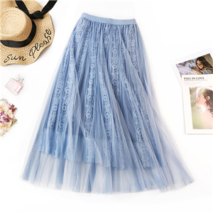 Wholesale solid color pleated lace mesh skirt