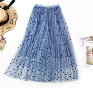 Wholesale polka dot high waist slim mesh skirt