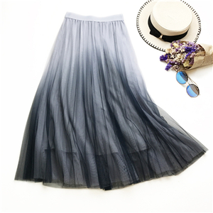 Wholesale gradient high waist slim pleated mesh skirt