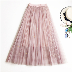 Wholesale solid color metallic beaded pleated mesh skirt