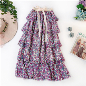Wholesale lotus leaf printed chiffon cake skirt