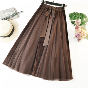 Wholesale stitching high waist velvet mesh skirt
