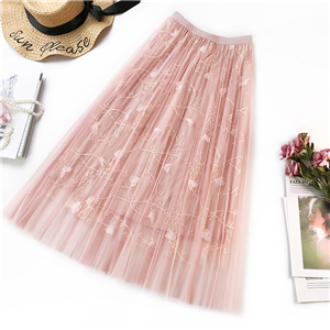 Wholesale solid color embroidered mesh skirt