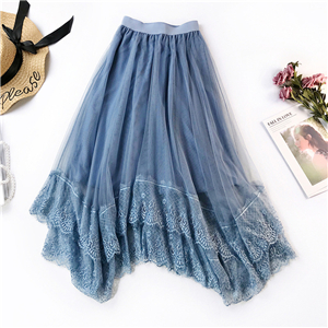 Wholesale irregular lace mesh skirt