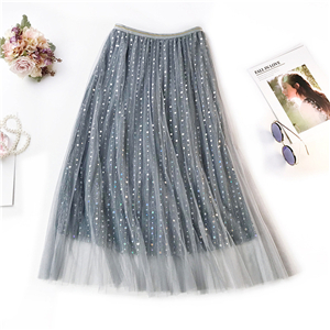 Wholesale high waist sequin mesh A word pleated skirt