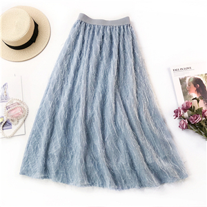 Wholesale high waist solid color fringed chiffon skirt