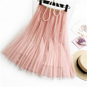 Wholesale solid color beaded mesh long skirt