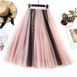 Wholesale wave stitching mesh long skirt