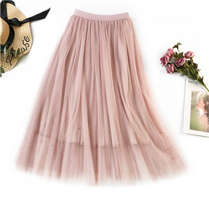 Wholesale high waist beaded bronzing mesh skirt
