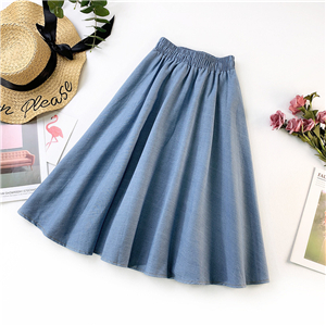 Wholesale high waist solid color denim skirt
