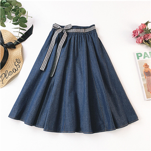 High waist solid color denim skirt wholesale from China